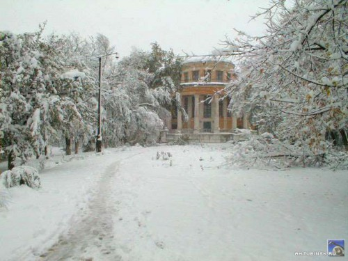 В парке снегопад